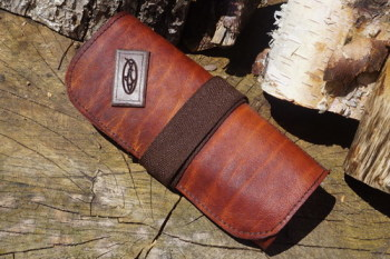 Sharpening-leather tool roll rolled up for feild sharpening kit for beaver