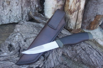 cutting-rear veiw of sheath and mora knife combo