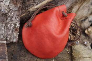 Leather-hand dyed leather pouch by beaver bushcraft blush