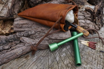 Leather-soft hand dyed tinder pouch with fire piston by beaver bushcraft