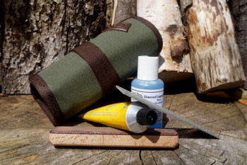 Bushcraft & Survival Diamond Sharpening Kit in Heavy Duty Canvas Utility Roll (25-8020)