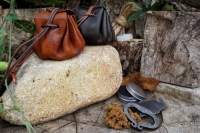 Fire-Old Merchants Tinder Pouches Hand Dyed in for Beaver Bushcraft