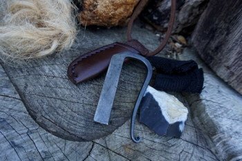 Fire-andrew kirkham fire steel neck sheath with tinder