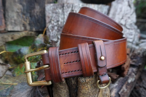 HAND STITCHED - 801 Hand Stitched Made To Order Leather Bushcraft Belt (45-