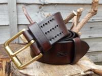 leather 801 belt in dark brown hand stitched by shark designs
