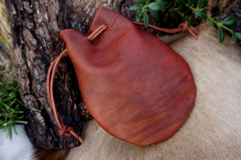 Leather-soft hand dyed leather pouch in paprika