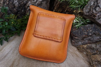 Leather-2oz tab pouch in saddle tan back view press stud