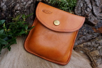 END OF LINE  - Leather 2oz 'Possibles' Pouch with Military Spec Press Stud - Saddle Tan