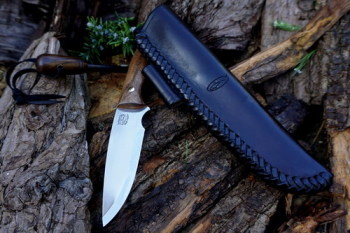 cutting black hand braided shark knife with ferro rod for beaver bushcraft