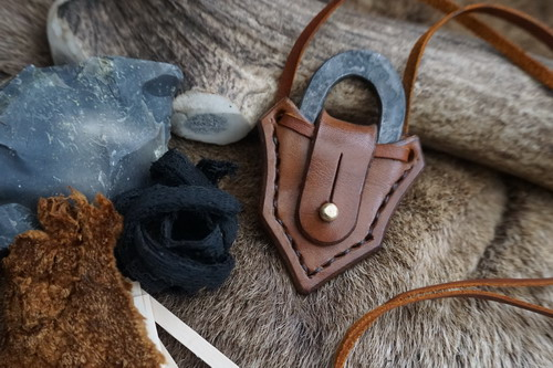HAND STITCHED - Leather Neck Sheath With Hand Forged Traditional Hudson Bay