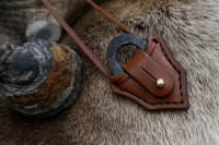 BESPOKE - Leather & Fire Steel Pendant with Traditional 'Flint & Steel' Oval Striker - SADDLE STITCHED (45-9536)