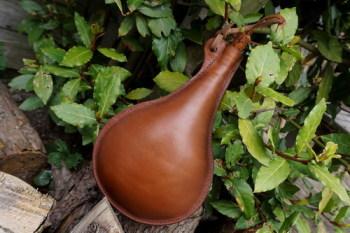 handmade spainish style leather flask by beaver bushcraft
