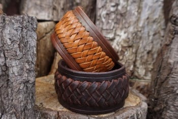 leather hand braid cuffs in dark& hazel brown for beaver bushcraft