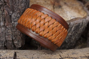 leather hand braided cuff in hazel for beaver bushcraft