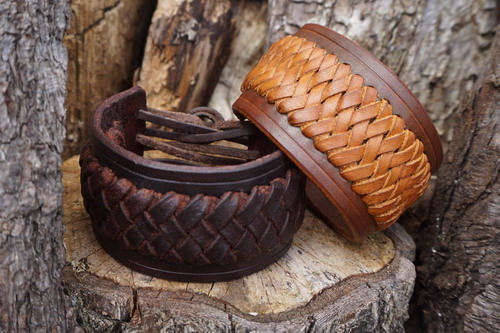 NEW - Hand Crafted Leather Viking Style Cuffs by Beaver Bushcraft/Shark Des