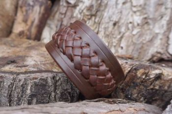 Leather viking style cuff slim in walnut brown by beaver bushcraft