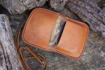 leather pocket pouch open for beaver bushcraft