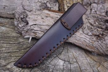 leather mora sheath hand stitched in mahogany for beaver bushcraft