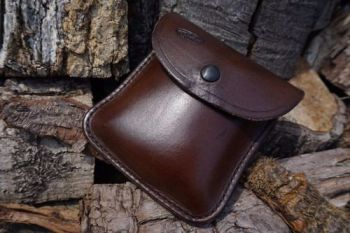 leather damaged landscape pouch in brown