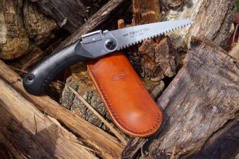 Cutting mini saw and sheath hand dyed in saddle tan