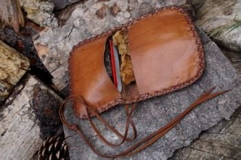 leather pioneering pouch rustic patina with altoids tin for beaver bushcraf