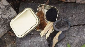 Fire tinderbox for pioneering striped leather pouch for beaver bushcraft