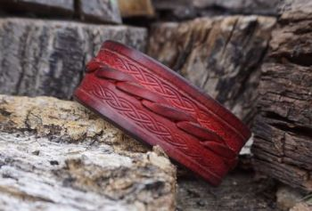 leather red slim leather cuff celtic band by beaver bushcraft