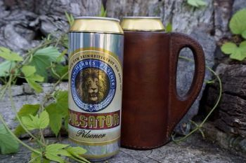 leather handmade tankard for beaver bushcraft