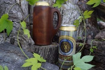 leather handmade tankard with beer for beaver bushcraft