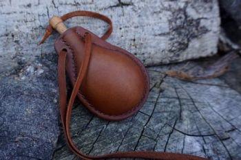 READY-2-GO - 'Mini' Leather Neck Bottle / Flask - Rustic Hazel Brown
