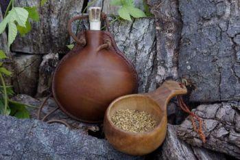 leather mini medium handmade bottle for beaver bushcraft in hazel patina