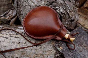 leather chestnut medium leather bottle handmade for beaver bushcraf conker