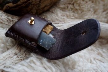 Fire mini belt fire steel pouch with AK hand stitched in leather for beaver