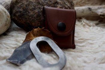 fire hand stitched dark hazel belt loop pouch by beaver bushcraft