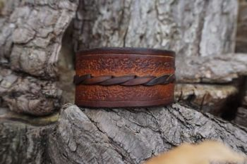 Hand Crafted Patterned 'Medieval' Style Leather Cuff - Hazel Brown Ombre