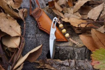 READY-2-GO - Leather Necker Knife - 2 Finger Grip - Right Handed - Hand Stitched - Patina Dyed (#BB-19)