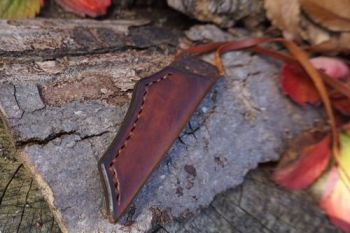 Cutting leather sheath hand stitched for beaver neck knife BB21
