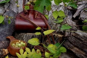 Leather barrel hand made leather bottle in hazel brown for beaver bushcraft