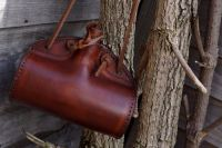 Handmade Leather 'The Barrel' Bottle/Canteen - Conker Brown
