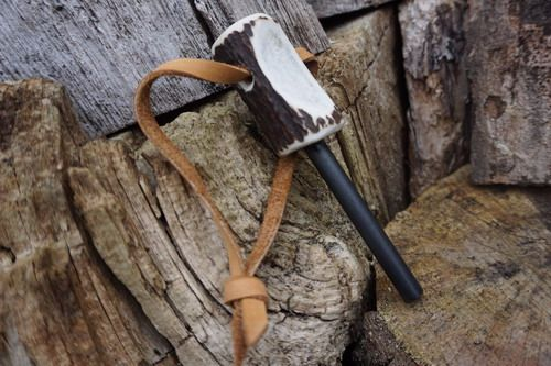 Ferrocerium Fire Steel + Leather Lanyard - Hand Carved Antler Handle