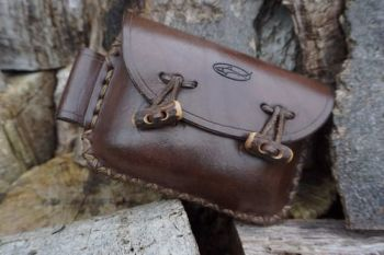 SECOND - Brown Leather 2oz 'Possibles' Pouch - Landscape Style With Antler Toggles