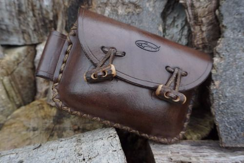 SECOND - Brown Leather 2oz 'Possibles' Pouch - Landscape Style With Antler