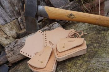 leather granfors bruks axe head sheaths set with axe by Beaver Bushcraft