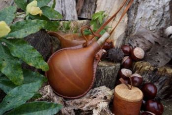 leather hand made bottle with wooden cork for beaver bushcraft