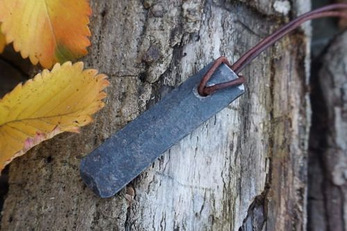 HAND FORGED by Bethel Forge -  'Primitive' Pendant Fire Steel + Flint & Cha