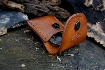 fire and leather fire lighting kit open in hazel brown from beaver bushcraf
