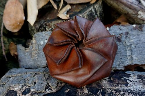 NEW - Hand Dyed Hazel Brown Leather 'Ebenezer' Coin Pouch - Self Closing