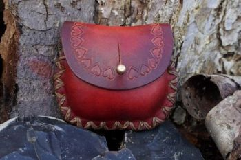 leather small pouch tool stamped hearts by beaver bushcraft