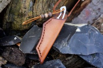 leather and blade for beaver bushcraft in hazel brown