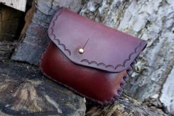 leather 10z pouch hand dyed in mahogany and ombre effect tooled by beaver b